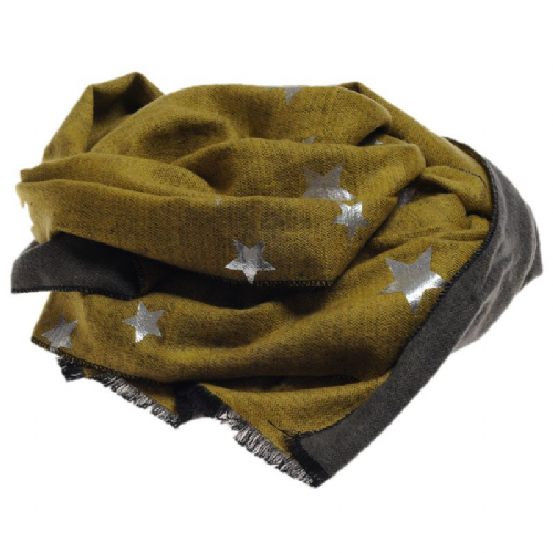Foil Printed Reversible Autumn/winter Star Scarf in Cappaccino